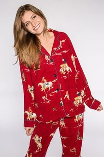 PJ Salvage Riding Off To Bed Flannel Pajama Set