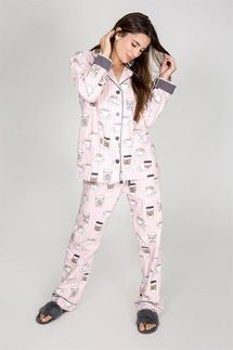 PJ Salvage Rise & Grind Coffee Flannel Pajama Set