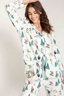 PJ Salvage Skiing Bears Flannel Pajama Set