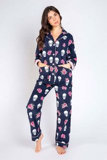 PJ Salvage Skull Flannel Pajama Set