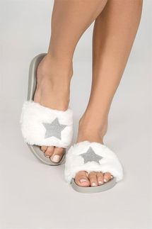 PJ Salvage Star Fur Sliders