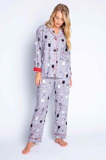 PJ Salvage Time To Wine Down Flannel Pajama Set