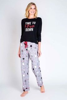 PJ Salvage Time To Wine Down Long Sleeve and Pant Pajama Set