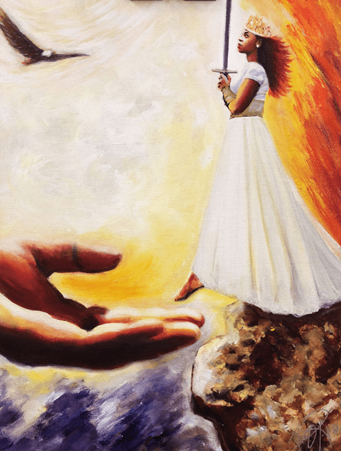 Girl on Fire takes a step of Faith! 8.5 x 11 art print