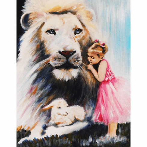 Little Princess in Pink with the Lion and Lamb. Print