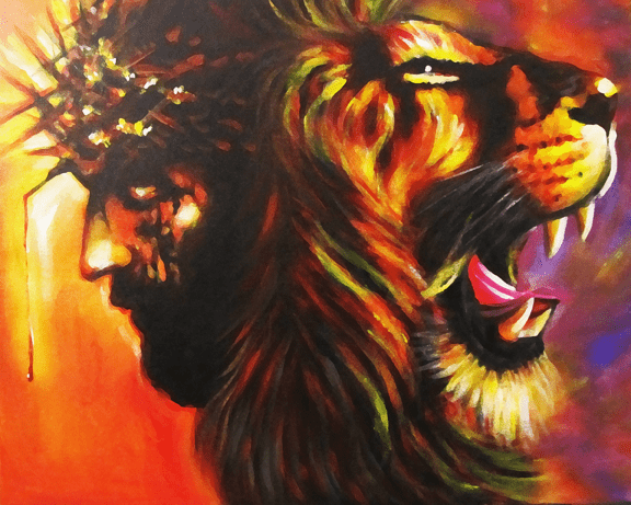 The Lamb of God and the Lion of God....Jesus. Art Print