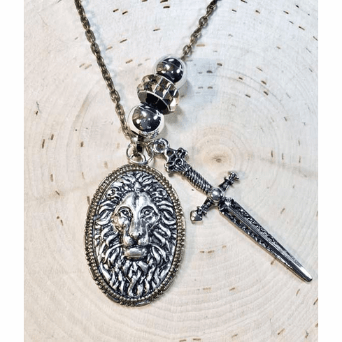 the Lion's Shield and Sword necklace
