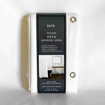 Deluxe Eco-Friendly 5 Ga. Peva Shower Curtain Linens w/Metal Grommets & Magnets