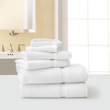 Bath Towels, Five Star Hotel Collection, 30x56, 18lbs./dz, 100% Cotton, Dobby Border, White