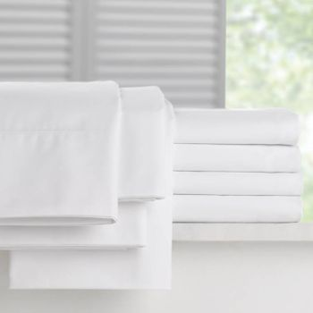 Martex Millennium T-250 Fitted Bed Sheets, Fresh White,  60% Cotton/40% Polyester