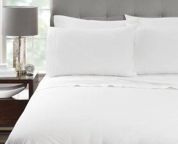 Martex Millennium T-300 Fitted Bed Sheets, White, 60% Cotton / 40% Polyester Blend