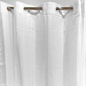 Oxford Hookless Shower Curtains, Solid White - 71x74, Water Repellent Polyester, Flex On Rings
