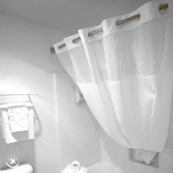Oxford Hookless Shower Curtains, White w/Sheer Viole Window & Snap-In-Liners - 71x74, Flex On Rings