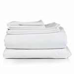 Oxford Super Deluxe T-300 Flat Sheets, White, Mercerized 65% Cotton/35% Polyester