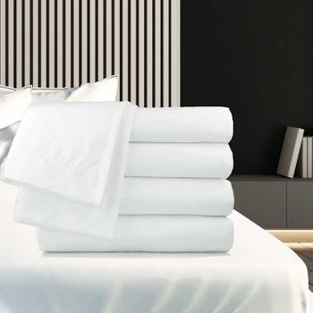 Oxford T-250 Satin Fitted Sheets, White, Mercerized 60% Cotton/40% Polyester