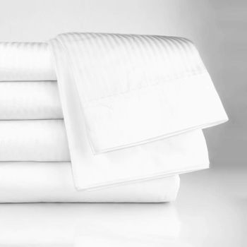 Oxford T-250 Tone-on-Tone White Fitted Sheets, Mercerized 60% Cotton/40% Polyester Sateen