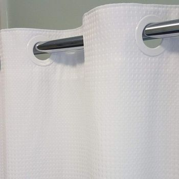 Palmetto Flex Ring Hookless White Waffle Shower Curtains with or without Snap-in-Liners - 71x74
