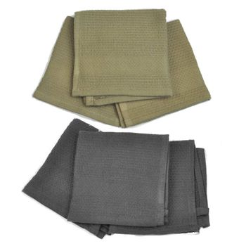 Palmetto Home Dish Cloths - 12x12, Solid Charcoal & Sand, Micro Waffle Weave, 100% Cotton