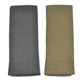 Palmetto Home Kitchen Towels - 15x25, Solid Charcoal & Sand, Micro Waffle Weave, 100% Cotton