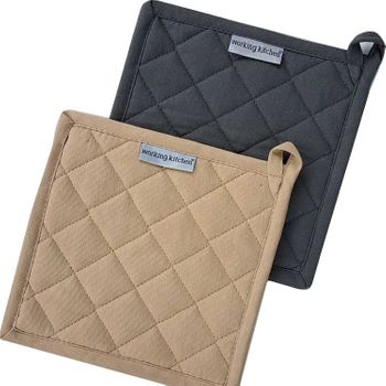 Palmetto Home Pot Holders - 8x8, Solid Charcoal & Sand, Plain Smooth Weave, 100% Cotton