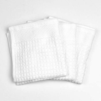 Palmetto Home Premium Dish Cloths - 12x12, Solid White, Waffle Weave Terry, 100% Cotton