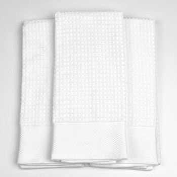 Palmetto Home Premium Kitchen Towels - 18x28, Solid White, Waffle Weave Terry, 100% Cotton