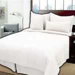 "Queen 4 Piece Coverlet Sets - Durable, Modern 1"" Box Quilting"