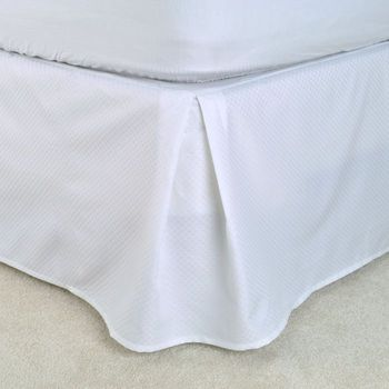 """T-250 Bed Skirts - White Dobby Micro-Check - Pleated Taylored 15"""" Drop, Low-Wrinkle"""
