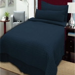 "Twin 3 Piece Coverlet Sets - Durable, Modern 1"" Box Quilting"