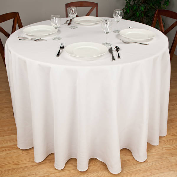 Excellent Round White Tablecloths Premier 7 2 Oz Spun Polyester Fabric Beutiful Home Inspiration Ommitmahrainfo