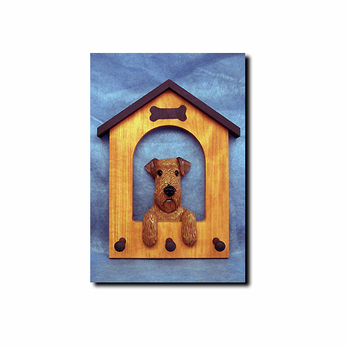Airedale Terrier Dog House Leash Holder