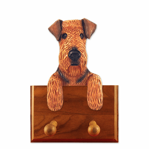 Airedale Terrier Walnut Dog Leash Holder
