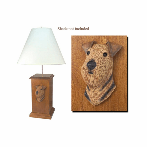 Airedale Terrier Wood Carved Table Lamp