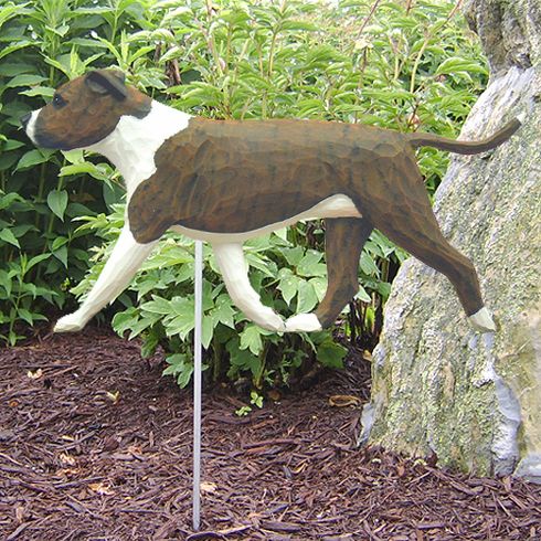 Am. Staffordshire Terrier (natural) Garden Stake-Brindle-White