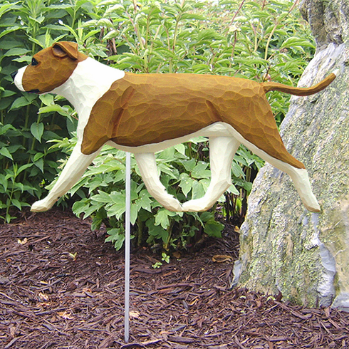 Am. Staffordshire Terrier (natural) Garden Stake-Red-White