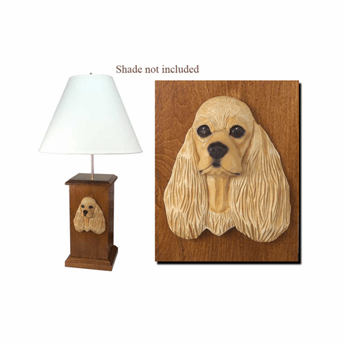 American Cocker Spaniel Wood Carved Table Lamp