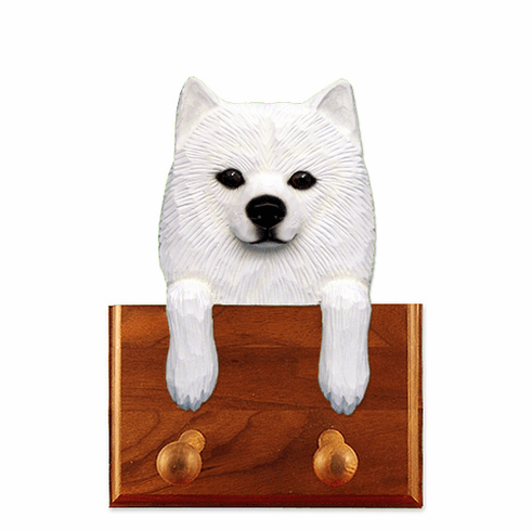 American Eskimo Walnut Dog Leash Holder