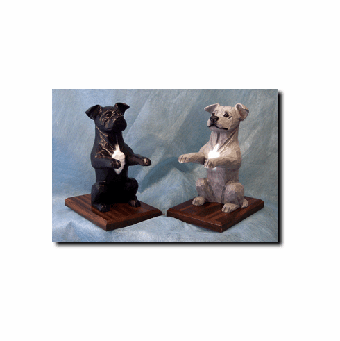 American Staffordshire Terrier Natural Ears Bookends