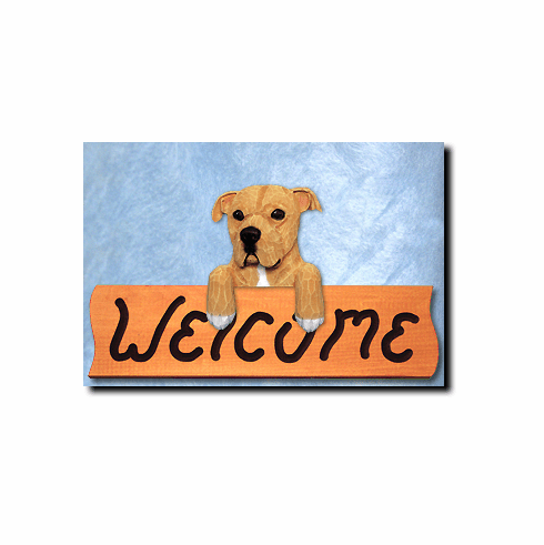 American Staffordshire Terrier Natural Ears Welcome Sign