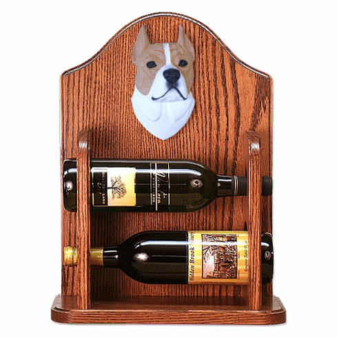 American Staffordshire Terrier Wine Rack -Fawn/White