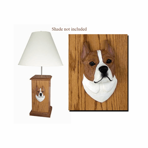 American Staffordshire Terrier Wood Carved Table Lamp