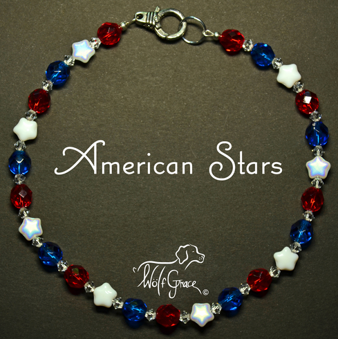 <b>American Stars Necklace for Dogs <br>(Matching Human Necklace Available!)</b>