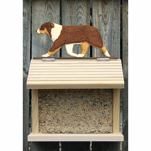 Australian Shepherd Bird Feeder-Red Tri