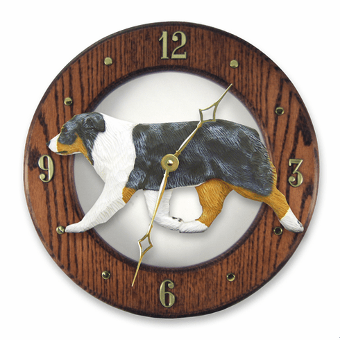 Australian Shepherd Solid Oak Wall Clock