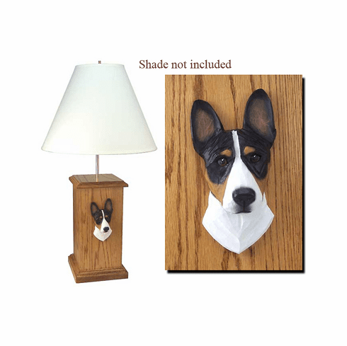 Basenji Wood Carved Table Lamp