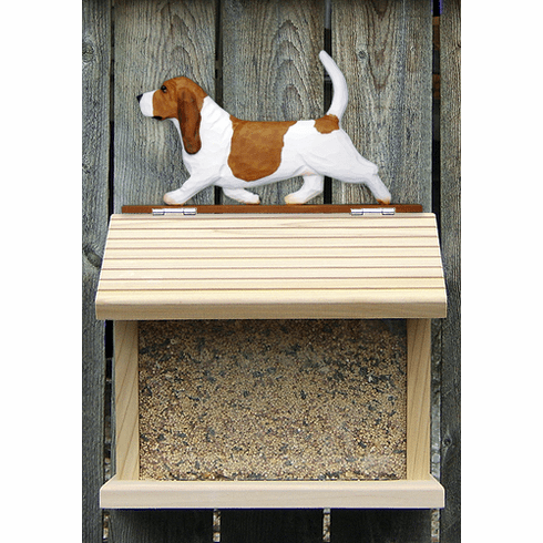 Basset Hound Bird Feeder-Red/White