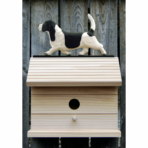 Basset Hound Bird House-Black/White