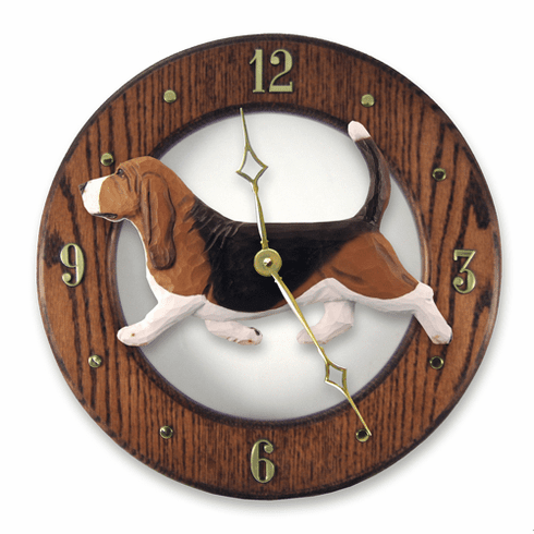 Basset Hound Solid Oak Wall Clock