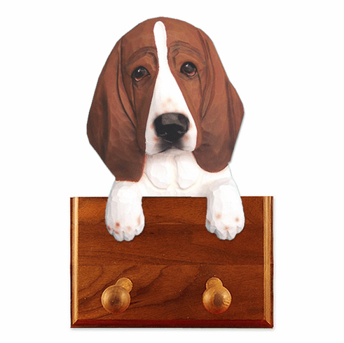 Basset Hound Walnut Dog Leash Holder