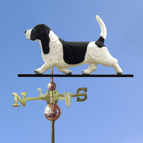 Basset Hound Weathervane-Black/White